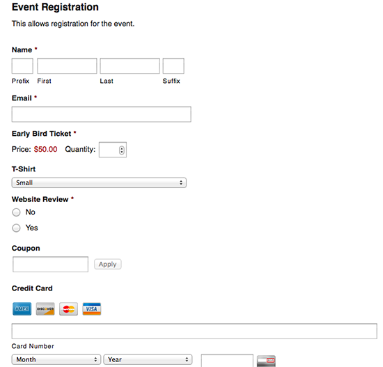 Event Registration with Gravity Forms